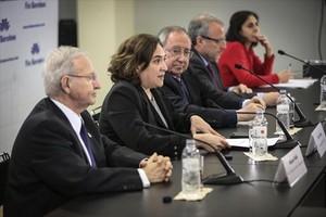 Miquel Valls, Ada Colau, Josep Lluís Bonet y Constantí Serrallonga.