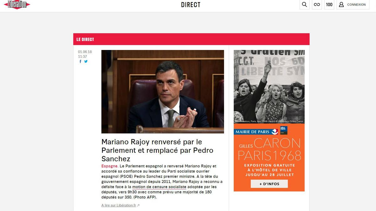 Portada web del diario francés 'Libération' sobre la moción de censura a Mariano Rajoy.