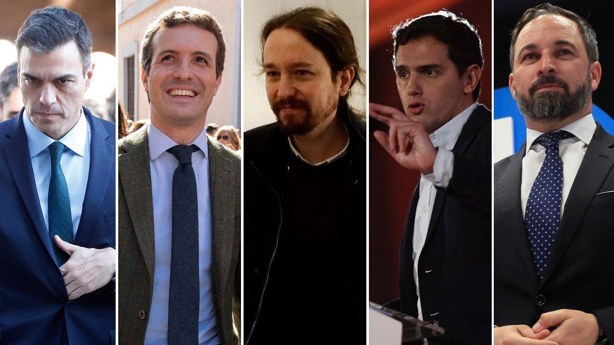 Pedro Sánchez, Pablo Casado, Pablo Iglesias, Albert Rivera y Santiago Abascal.