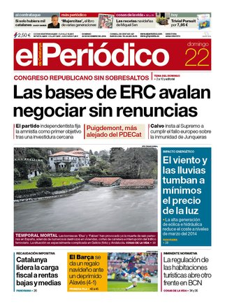 La portada de EL PERIÓDICO del 22 de diciembre del 2019