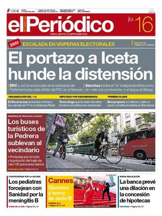 La portada de EL PERIÓDICO del 16 de mayo del 2019