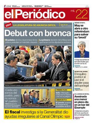 La portada de EL PERIÓDICO del 22 de mayo del 2019