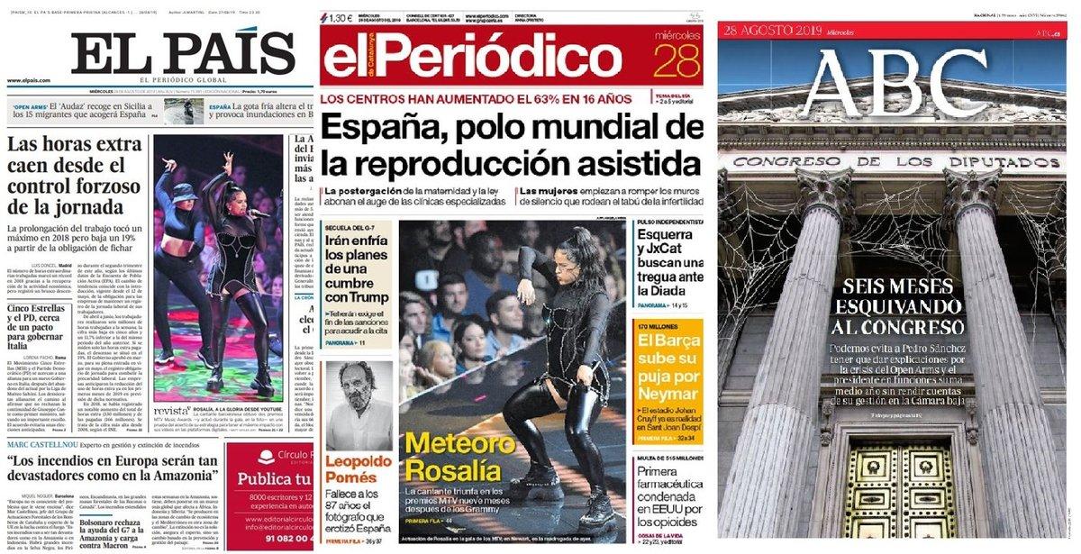 Prensa de hoy: Las portadas de los periódicos del miércoles 28 de agosto del 2019