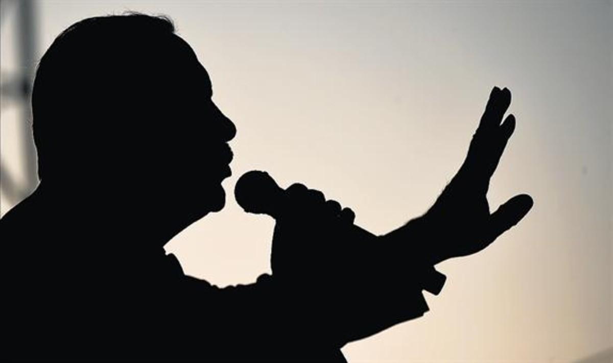 La silueta de Recep Tayyip Erdogan, en un encuentro en Estambul.