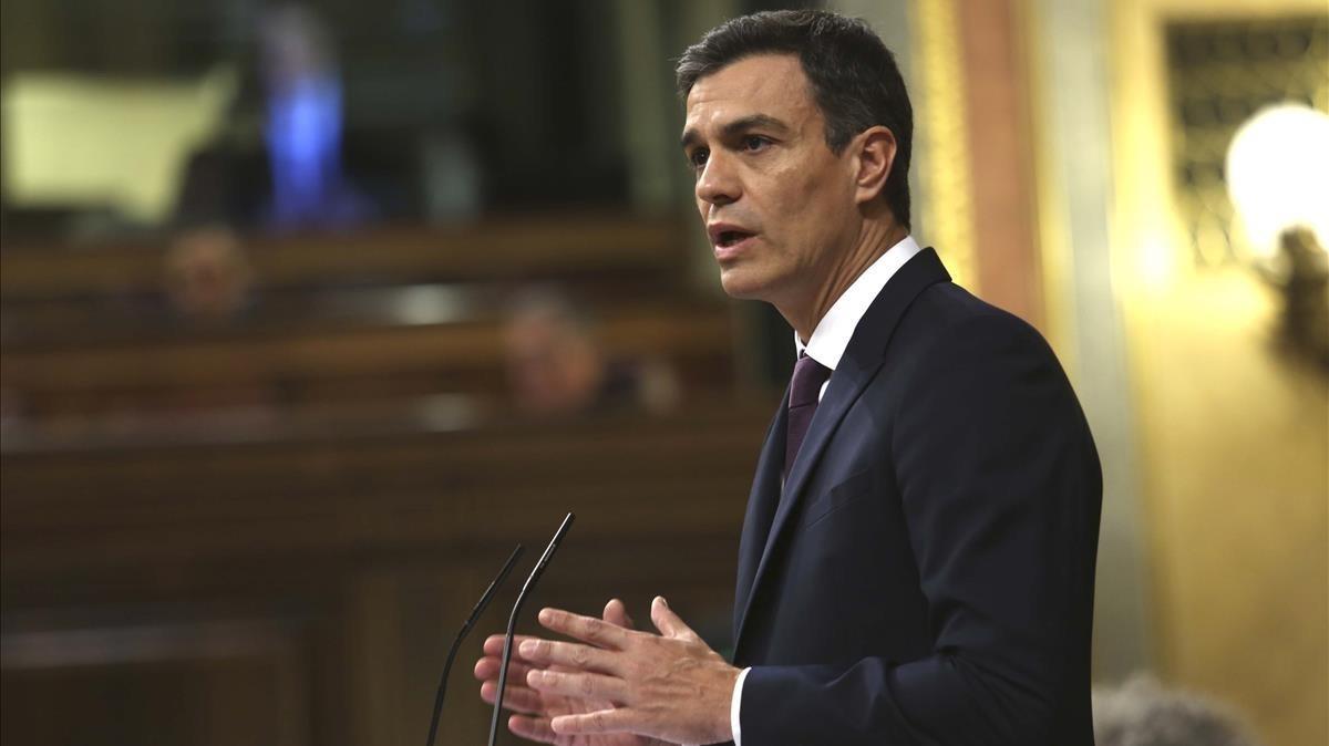 El Presidente del Gobierno y Secretario General del PSOE, Pedro Sanchez, en el Congreso de los Diputados.