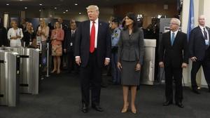 El presidente de EEUU, Donald Trump, a su llegada a la sede de Naciones Unidas en Nueva York,