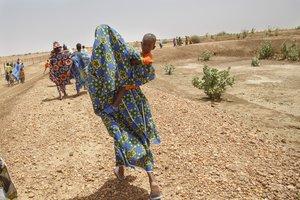 02/06/2017. Visita al programa de Save the Children Cash for work que ayuda a las poblaciones a construir diques y huertos el 02 de Junio de 2017, en Roumane Thielel, en la región de Gorgol, Mauritania. (Pablo Blazquez / Save the Children)