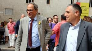 Quim Torra junto al alcalde de Vilafranca del Penedès, Pere Regull, antes de la diada de Sant Fèlix.