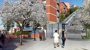 Recreación virtual del ascensor que se habilitará en Horta-Guinardó.