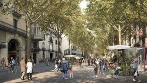 Recreaciones por ordenador de cómo quedará la Rambla según el proyecto de reforma presentado por el Ayuntamiento de Barcelona.