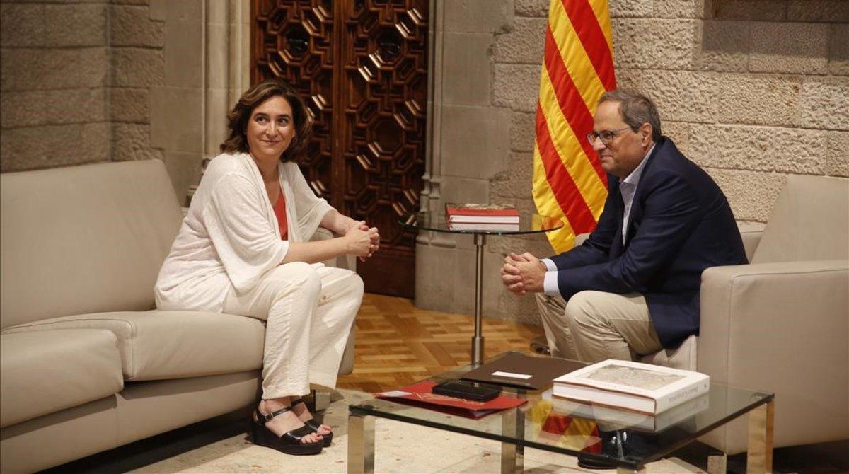 Reunión entre Quim Torra y Ada Colau.