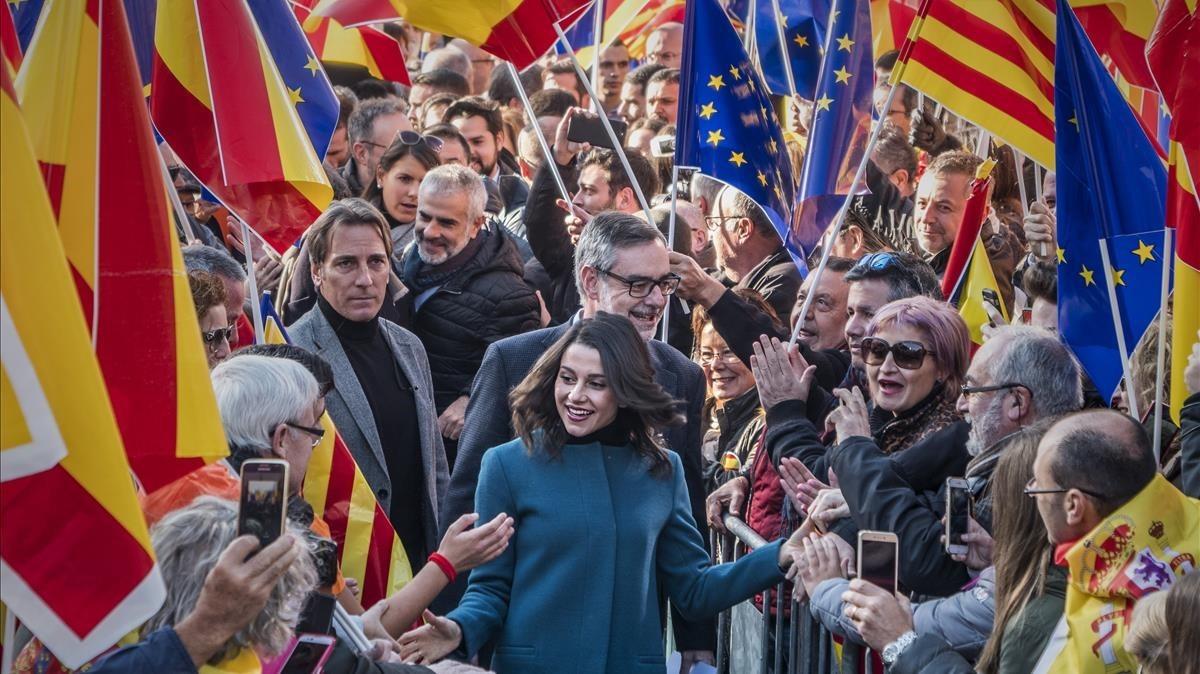 Inés Arrimadas, a su llegada al acto de Ciutadans en defensa de la Constitución.