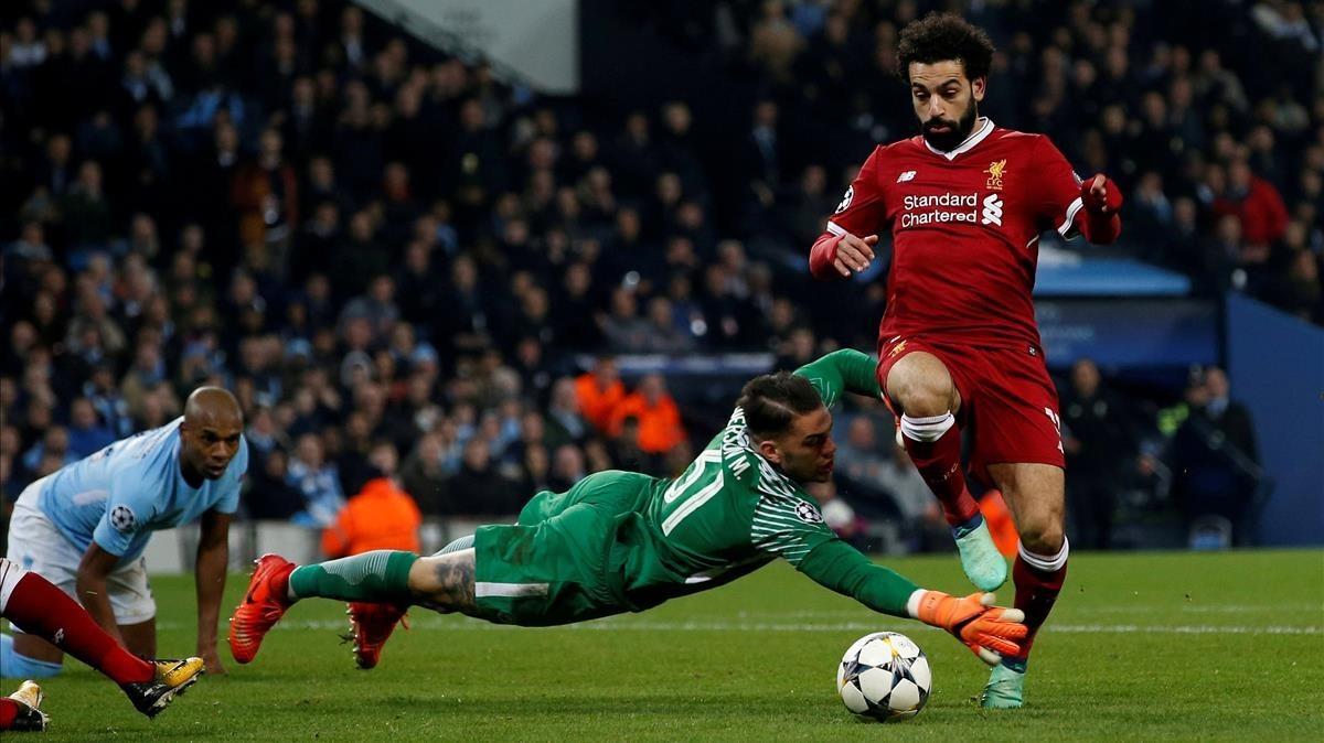 Salah, en el partido ante el City.