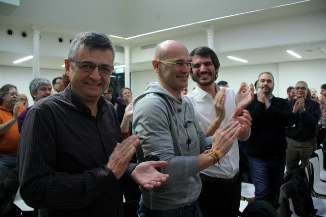 Salvador Milà, Raül Romeva y Ernest Urtasun, este sábado, en el Consell Nacional extraordinario.
