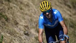 Alejandro Valverde, en plena fuga.