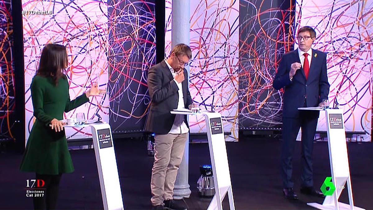 Arrimadas, Domènech y Mundó (El debat).
