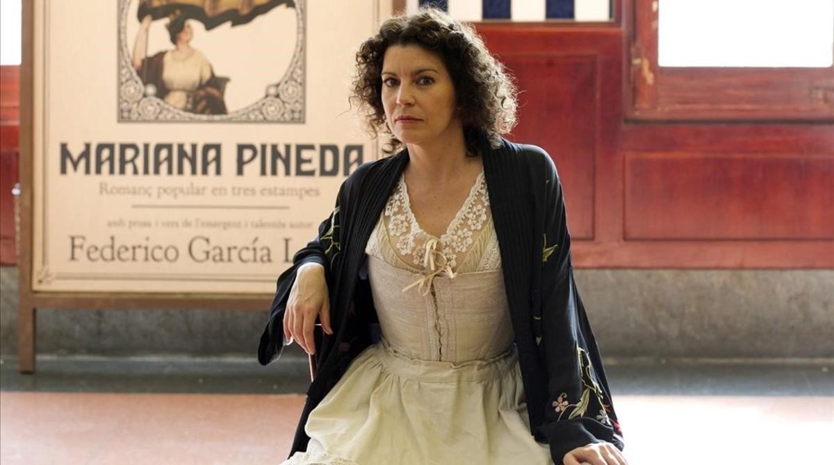 Laia Marull, en el papel de Margarida Xirgu,durante el rodaje del telefilme de TV-3 La Xirgu.