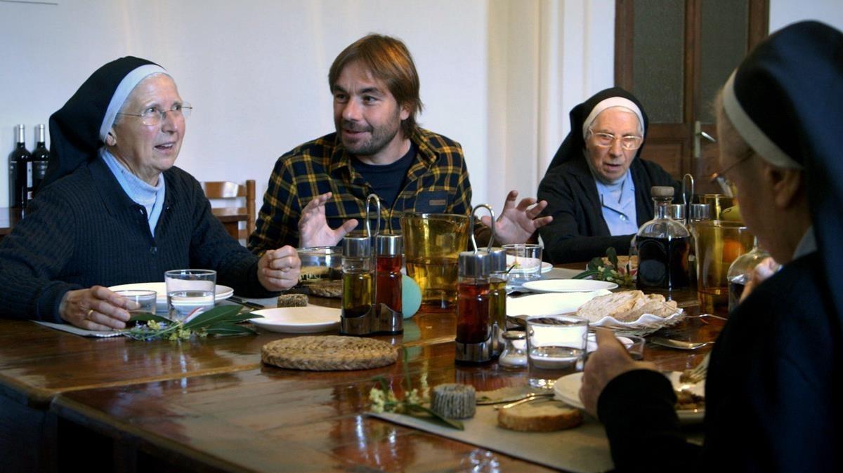 Quim Masferrer, en el programa de TV-3 El foraster dedicado al Monestir de Sant Daniel.