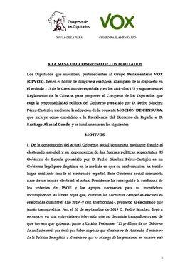 Texto de la moción de censura de Vox