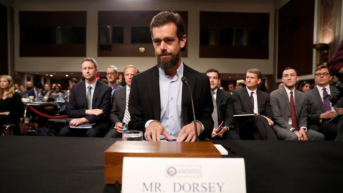 El CEO de Twitter, Jack Dorsey, en la comisión del Senado, este miércoles
