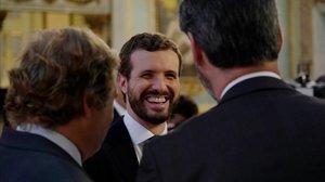 Pablo Casado, este jueves, día de arranque de campaña, en un desayuno informativo en Madrid.