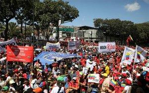 Marcha de seguidores de Nicolás Maduro en Venezuela.