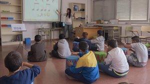 Un aula de la Escola Magraners de Lleida, en el curso 2017-2018.