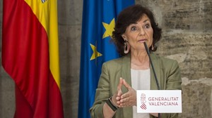Carmen Calvo durante su comparecencia en Valencia.