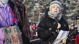 Greta Thunberg habla durante un acto en Jokkmokk (Suecia), el pasado viernes.