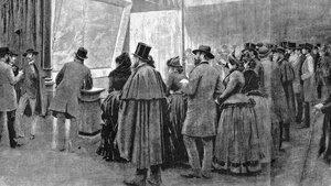 Josep Lluís Pellicer inmortalizó con su dibujo las colas que provocó en la Sala Parés la exposición del óleo 'Spoliarium' de Juan Luna y Novicio.
