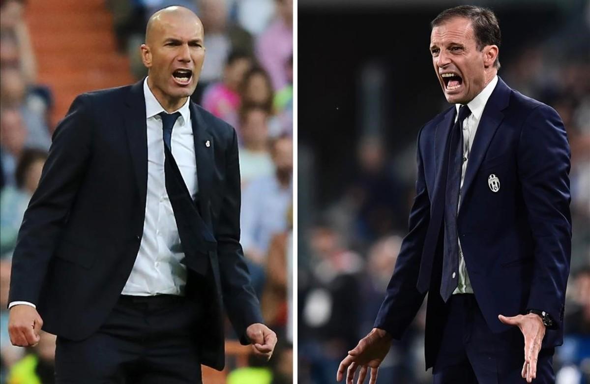 Zinedine Zidane y Massimiliano Allegri, entrenadores del Madrid y de la Juventus.