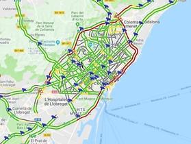 Mapa del atasco en Barcelona.