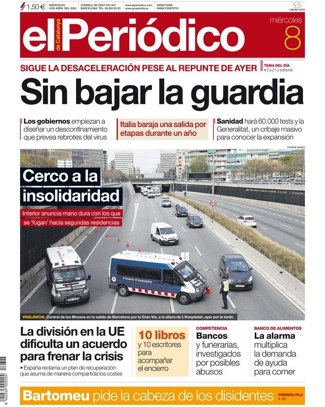 La portada d'EL PERIÓDICO del 8 d'abril del 2020