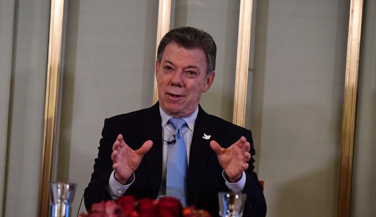Santos, durante su comparecencia en Olso, el día antes de recibir el Nobel de la Paz.