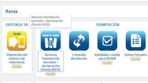 Acceso a Renta Web en el portal de la Agencia Tributaria.