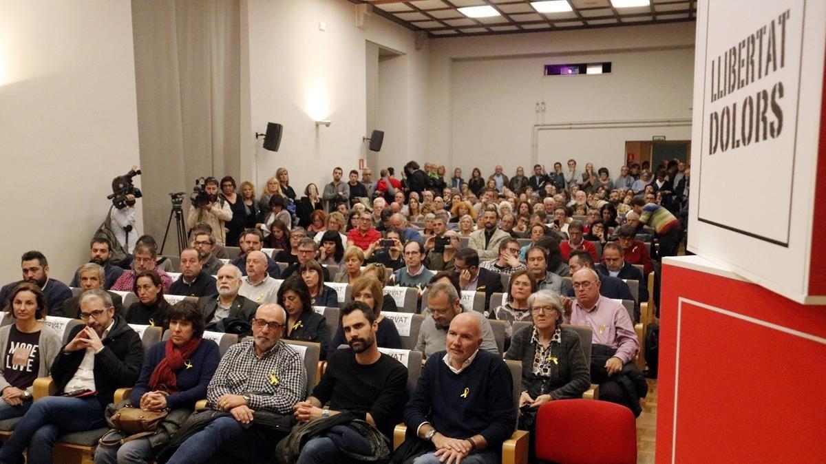 Acto de la UGT de Catalunya en Girona para pedir la libertad de Dolors Bassa y el resto de 'exconsellers'.