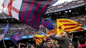 La afición del FC Barcelona en el Camp Nou.