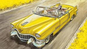 Blacksad, en su flamante Cadillac, en la imagen de portada del álbum Amarillo, ganador del Nacional de Cómic, ejemplo de la exposición del Salón del Cómic Viñetas sobre ruedas.