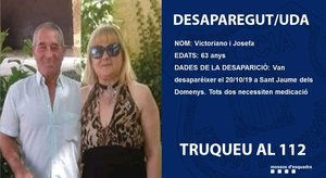 Cartel de los Mossos que denunciaba la desaparición del matrimonio del Baix Penedès.
