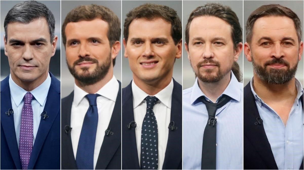 Pedro Sánchez, Pablo Casado, Albert Rivera, Pablo Iglesias y Santiago Abascal momentos antes del inicio del debate