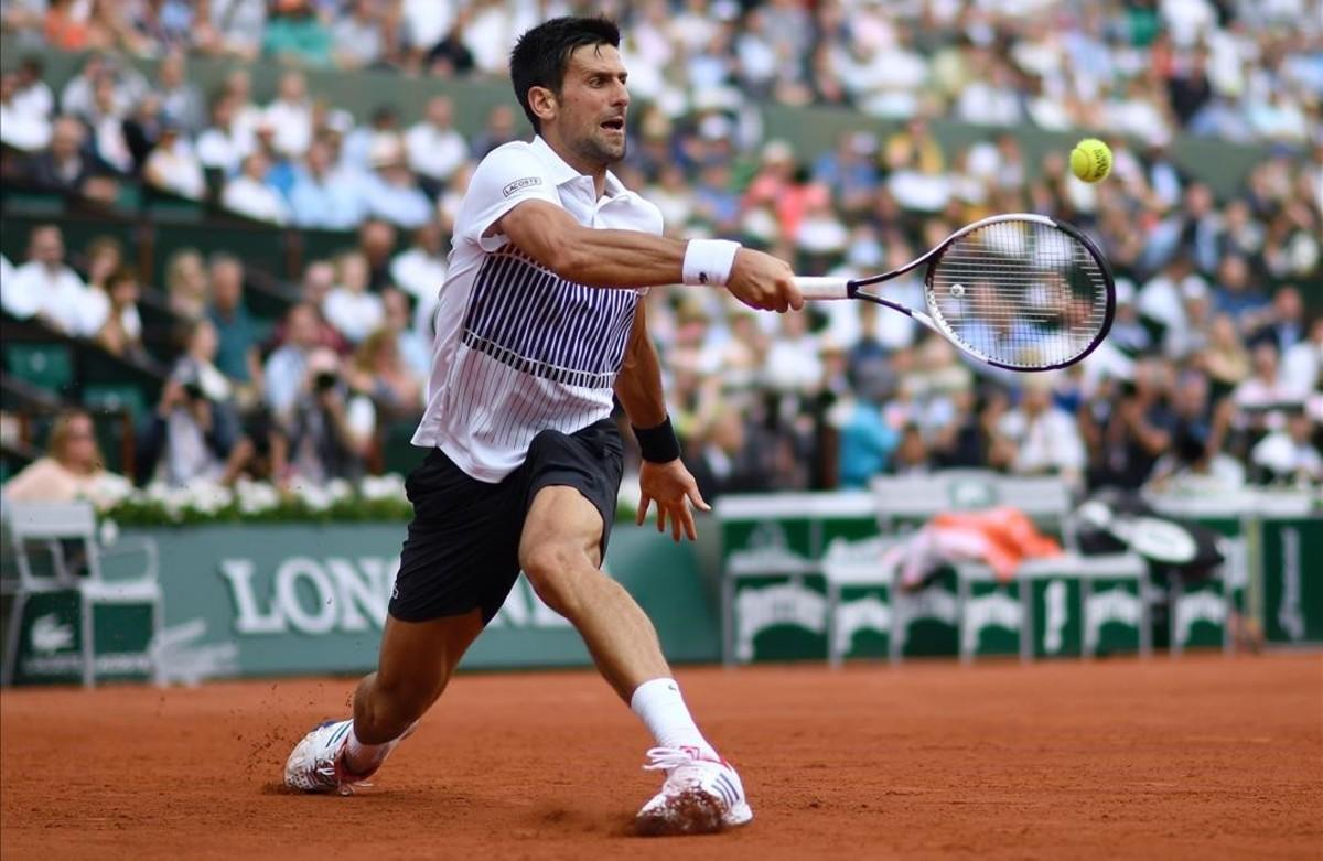 Djokovic, durante su partido contra Schwartzmann.