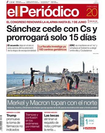 La portada d'EL PERIÓDICO del 20 de maig del 2020
