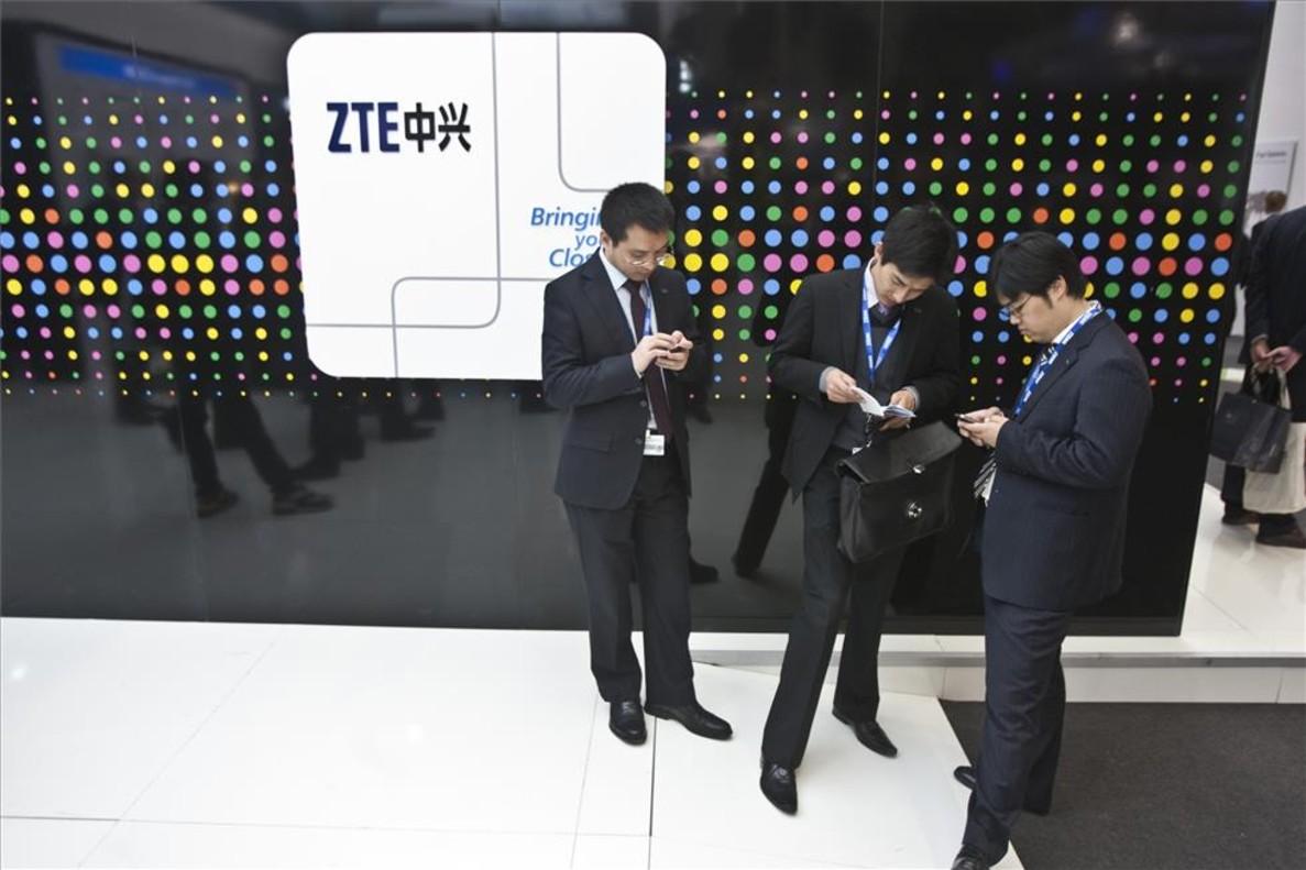 Estand de ZTE en el Mobile World Congress de Barcelona.
