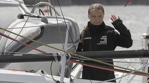 Greta Thunberg, a bordo del 'Malizia II', a su llegada a Nueva York.