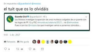 La Guardia Civilha pedido disculpas por insinuar la complacencia de la policia catalana con el independentismo y ha anunciado depurar responsabilidades