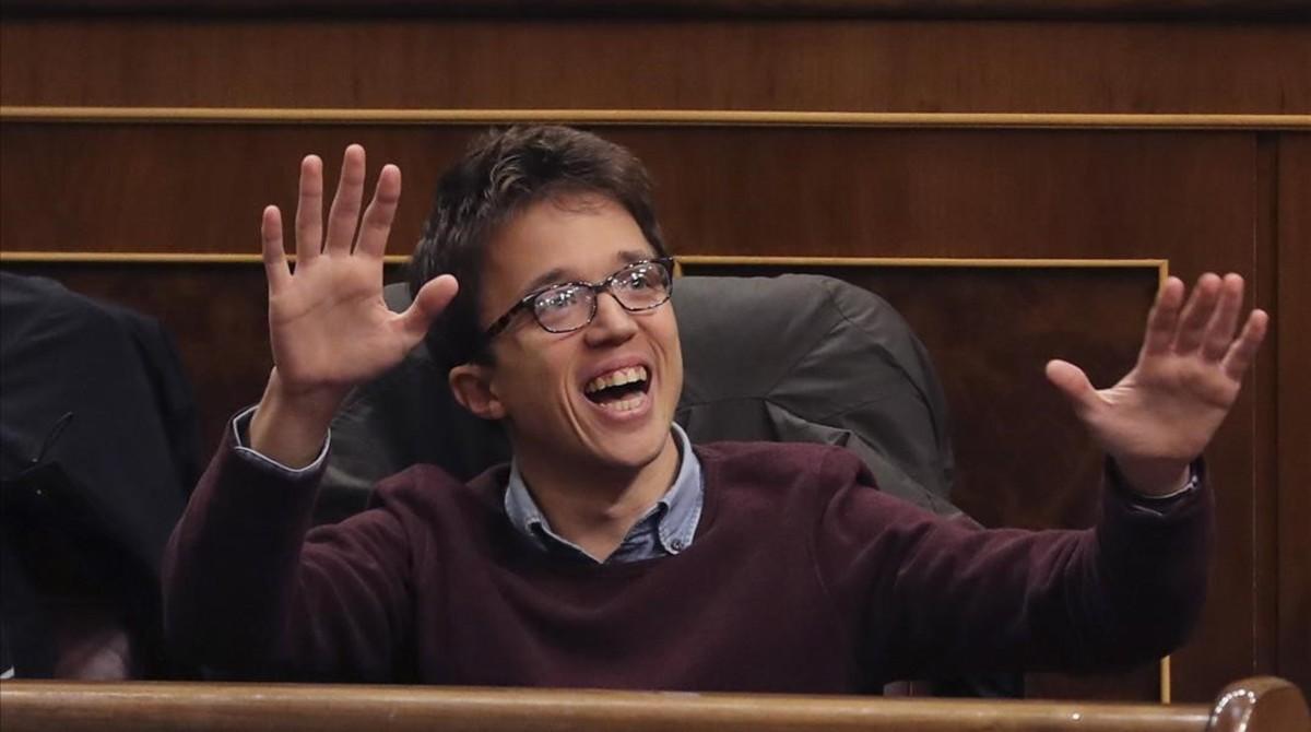 Íñigo Errejón, este jueves, en el debate del decreto del Gobierno sobre la reforma de la estiba.