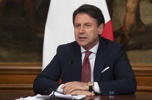 07 August 2020, Italy, Rome: Italian Prime Minister Giuseppe Conte attends a press conference following a cabinet meeting on the decree law August (dl Agosto) at Chigi Palace. Photo: Claudio Peri/LaPresse via ZUMA Press/dpa