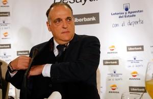 Javier Tebas, durante su participación en un desayuno informativo de Europa Press.