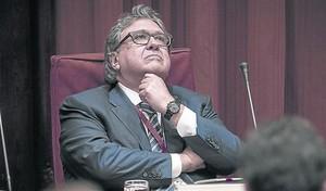 Joan Anton Sánchez Carreté, durante la comisión de investigación sobre el caso Pujol, en el Parlament.