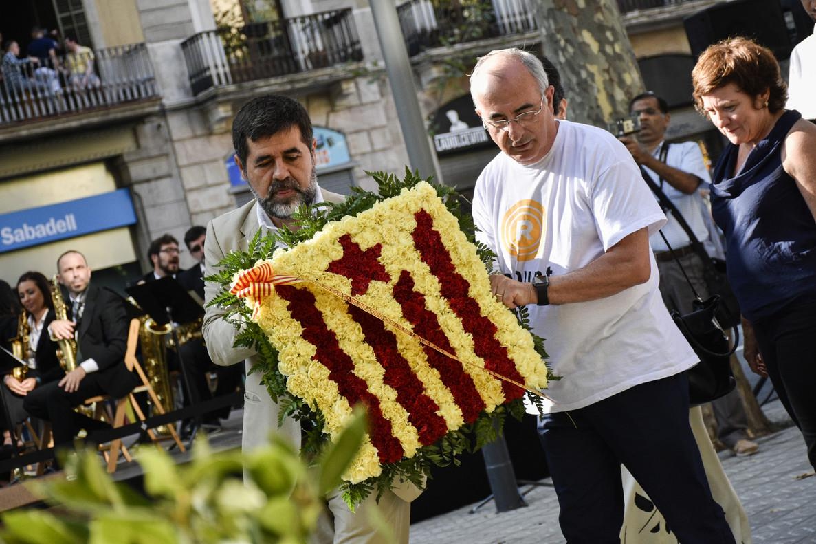 Jordi Sànchez, presidente de la ANC, en la ofrenda floral al monumento a Rafael Casanova.